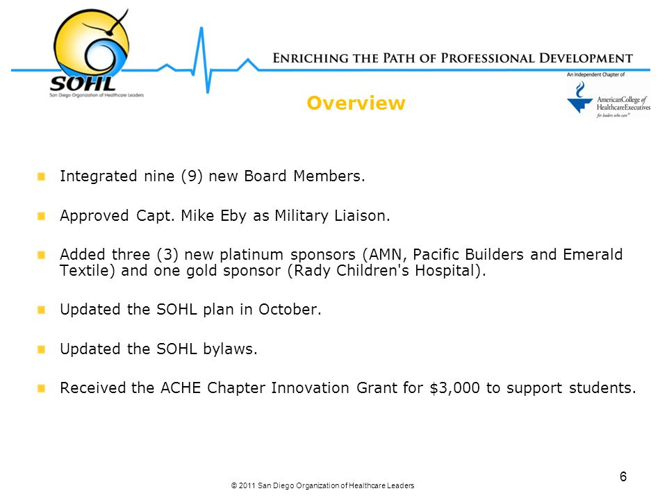 Overview Integrated nine (9) new Board Members. Approved Capt. Mike Eby as Military Liaison. Added three (3) new platinum sponsors (AMN, Pacific Build