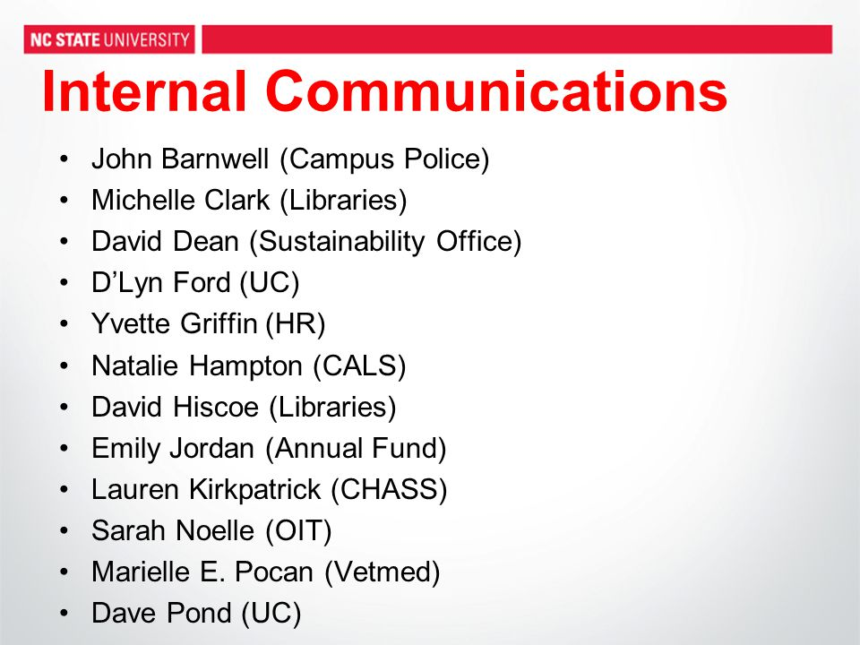 Internal Communications John Barnwell (Campus Police) Michelle Clark (Libraries) David Dean (Sustainability Office) D'Lyn Ford (UC) Yvette Griffin (HR) Natalie Hampton (CALS) David Hiscoe (Libraries) Emily Jordan (Annual Fund) Lauren Kirkpatrick (CHASS) Sarah Noelle (OIT) Marielle E.