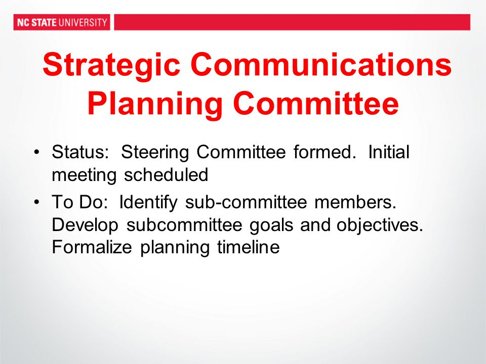 Process & Timeline (continued) Planning workshops will begin in January 2010 –First draft completed on April 5 –Draft presented to deans, directors and executive officers week of April 5 –Plan finalized on May 3