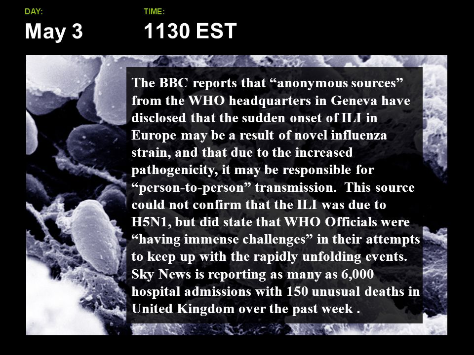 May 3 DAY:TIME: The BBC reports that anonymous sources from the WHO headquarters in Geneva have disclosed that the sudden onset of ILI in Europe may be a result of novel influenza strain, and that due to the increased pathogenicity, it may be responsible for person-to-person transmission.