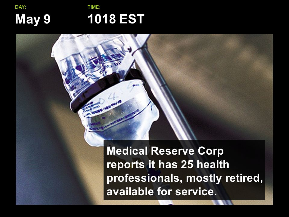 May 9 DAY:TIME: Medical Reserve Corp reports it has 25 health professionals, mostly retired, available for service.
