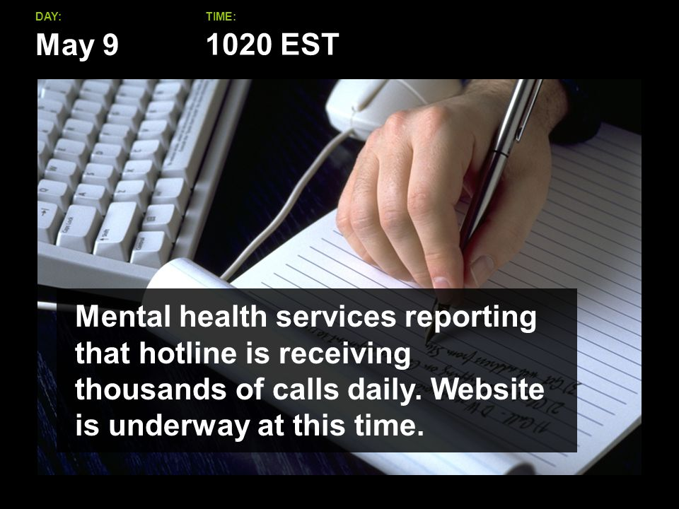 May 9 DAY:TIME: Mental health services reporting that hotline is receiving thousands of calls daily.