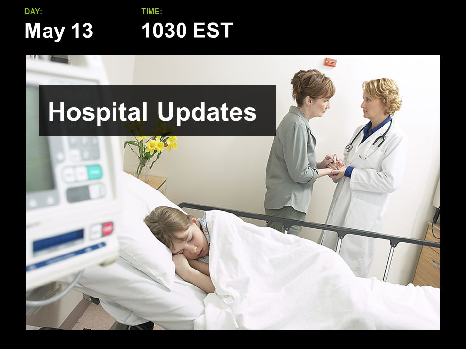May 13 DAY:TIME: Hospital Updates 1030 EST