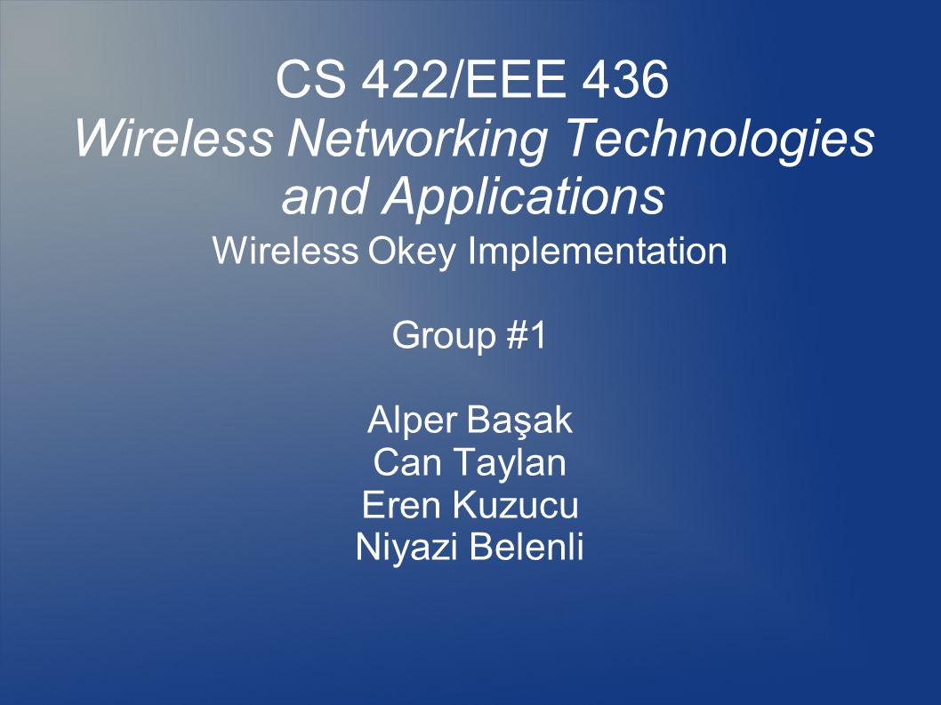CS 422/EEE 436 Wireless Networking Technologies and Applications Wireless Okey Implementation Group #1 Alper Başak Can Taylan Eren Kuzucu Niyazi Belenli