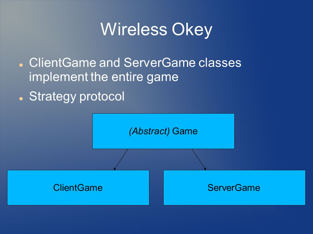 Wireless Okey ClientGame and ServerGame classes implement the entire game Strategy protocol (Abstract) Game ClientGameServerGame