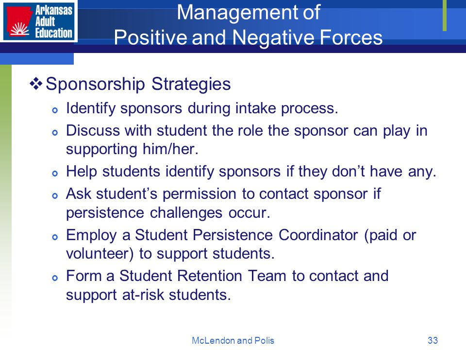 McLendon and Polis33 Management of Positive and Negative Forces  Sponsorship Strategies  Identify sponsors during intake process.