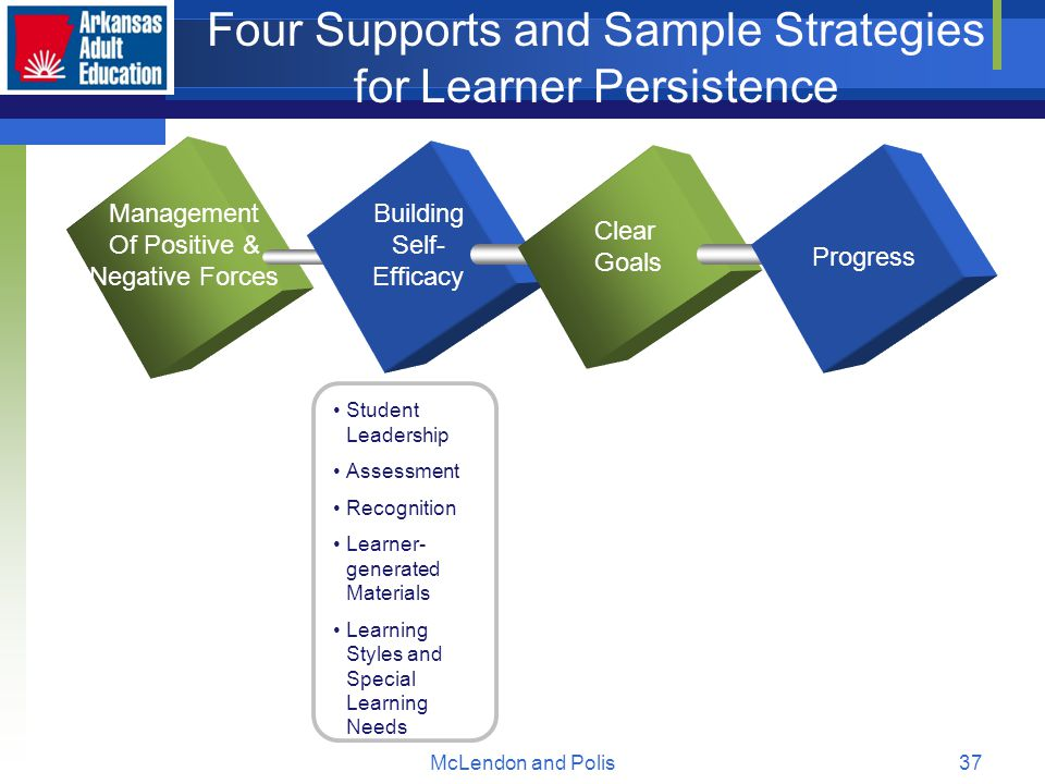 McLendon and Polis37 Four Supports and Sample Strategies for Learner Persistence Management Of Positive & Negative Forces Building Self- Efficacy Clear Goals Progress Student Leadership Assessment Recognition Learner- generated Materials Learning Styles and Special Learning Needs