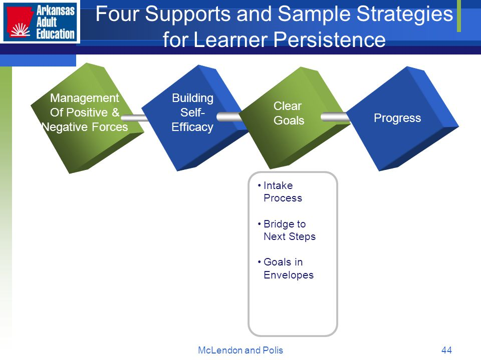 McLendon and Polis44 Four Supports and Sample Strategies for Learner Persistence Management Of Positive & Negative Forces Building Self- Efficacy Clear Goals Progress Intake Process Bridge to Next Steps Goals in Envelopes
