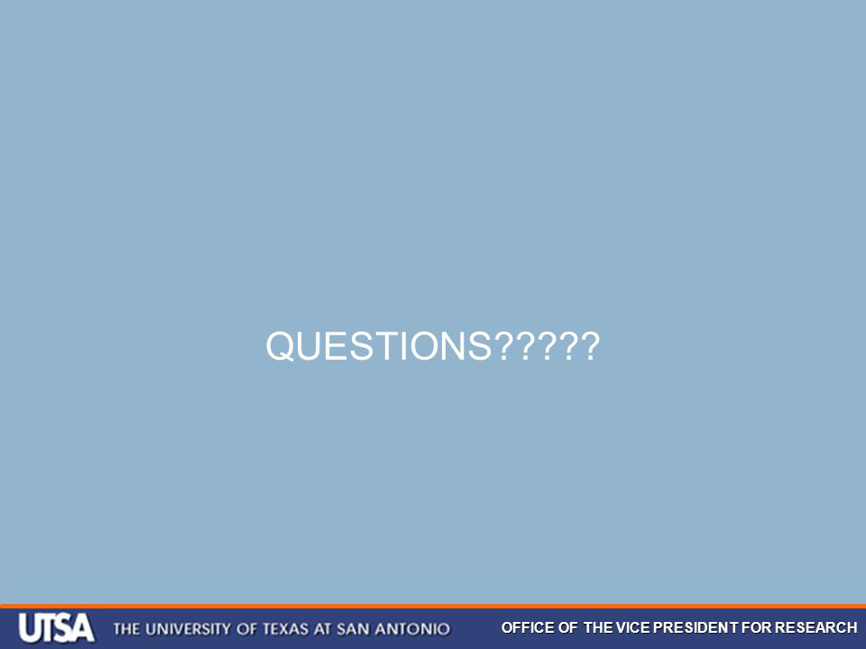 OFFICE OF THE VICE PRESIDENT FOR RESEARCH QUESTIONS?????