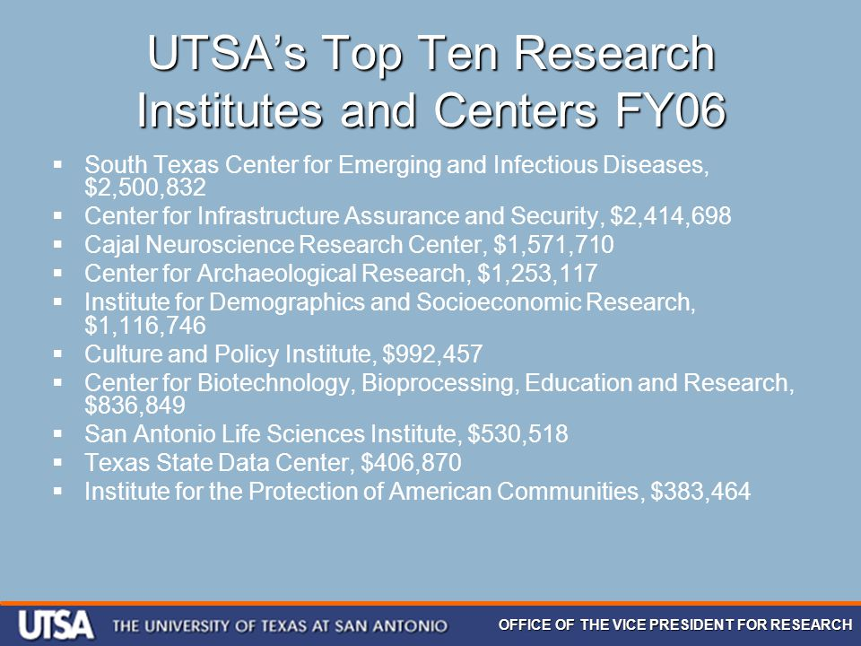 OFFICE OF THE VICE PRESIDENT FOR RESEARCH UTSA's Top Ten Research Institutes and Centers FY06  South Texas Center for Emerging and Infectious Disease