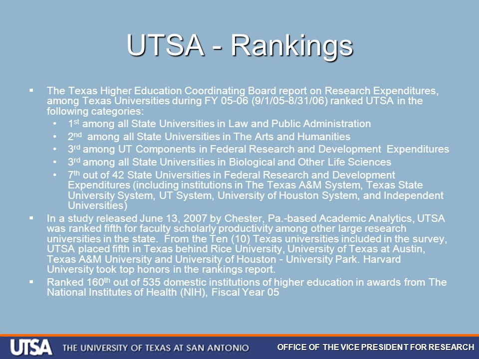 OFFICE OF THE VICE PRESIDENT FOR RESEARCH UTSA - Rankings  The Texas Higher Education Coordinating Board report on Research Expenditures, among Texas