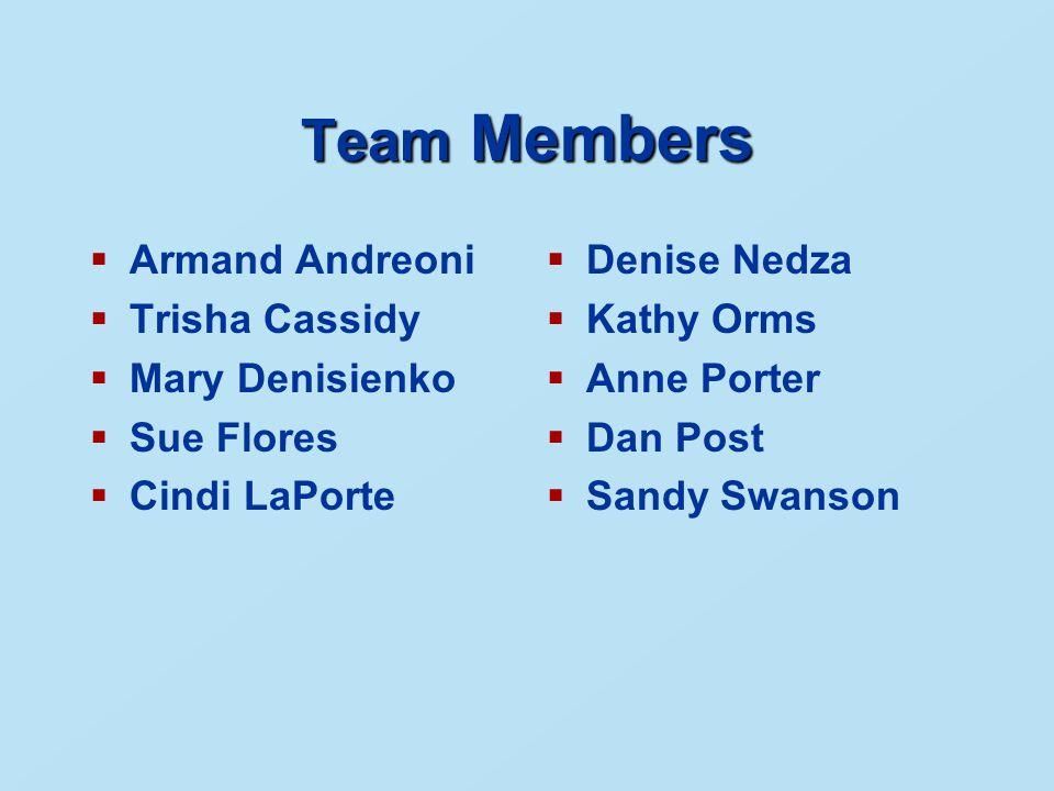 Team Members  Armand Andreoni  Trisha Cassidy  Mary Denisienko  Sue Flores  Cindi LaPorte  Denise Nedza  Kathy Orms  Anne Porter  Dan Post  Sandy Swanson