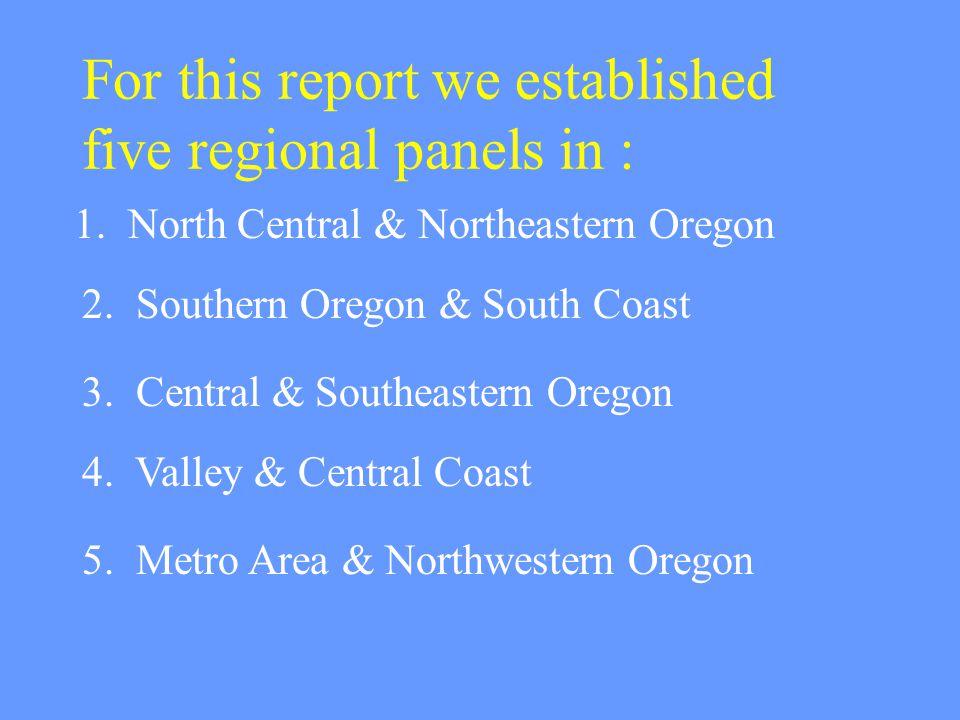 2. Southern Oregon & South Coast 5. Metro Area & Northwestern Oregon 1.