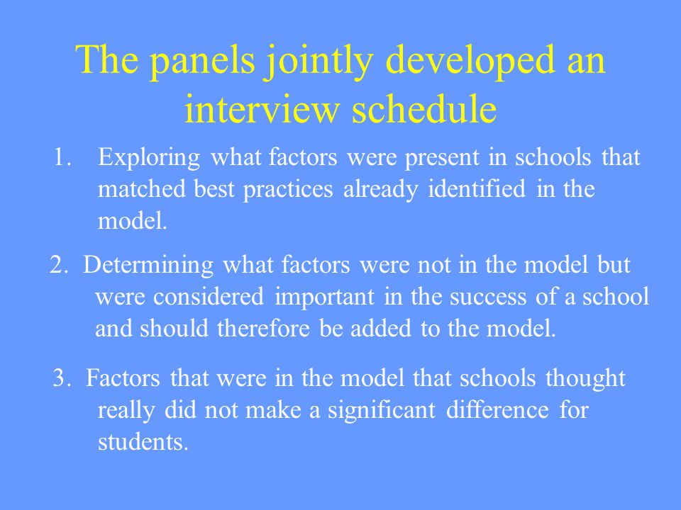 The panels jointly developed an interview schedule 1.Exploring what factors were present in schools that matched best practices already identified in the model.
