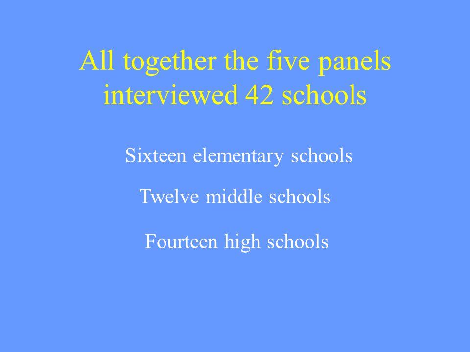 All together the five panels interviewed 42 schools Sixteen elementary schools Twelve middle schools Fourteen high schools