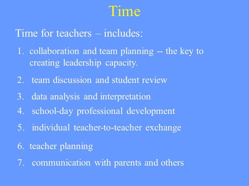 Time Time for teachers – includes: 7. communication with parents and others 6.