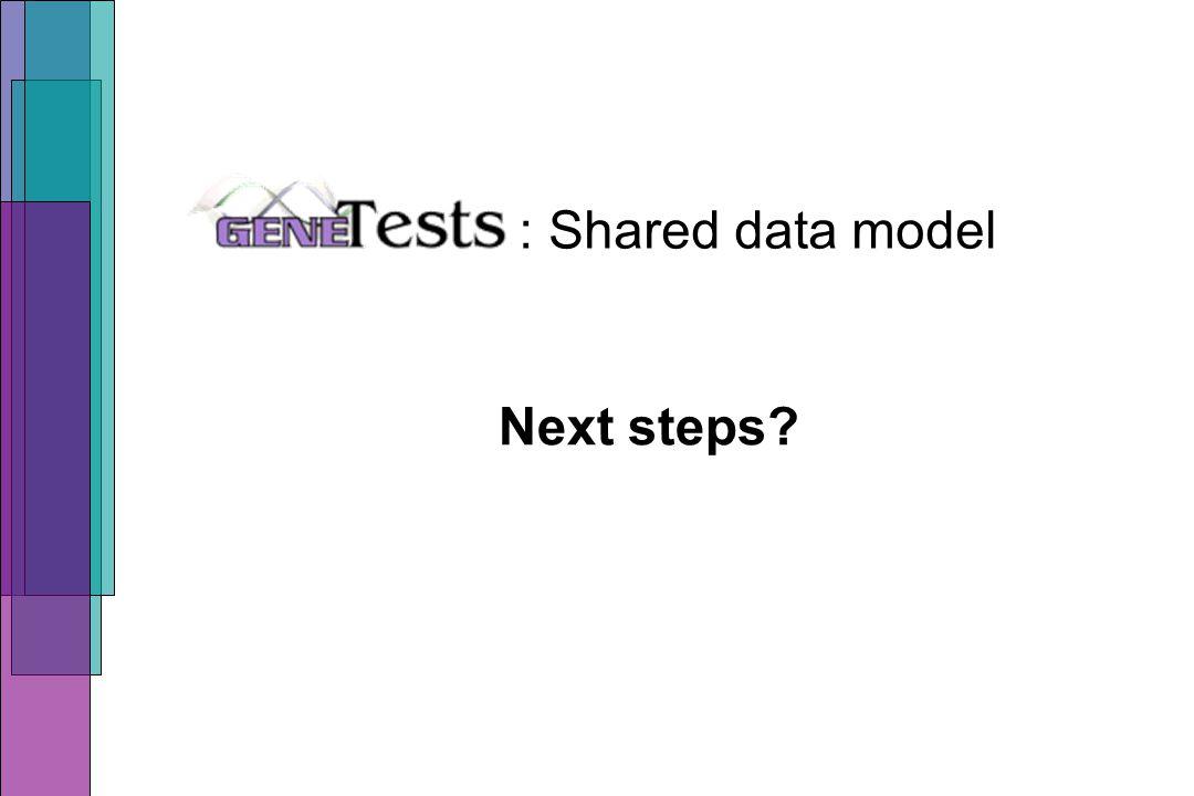 : Shared data model Next steps