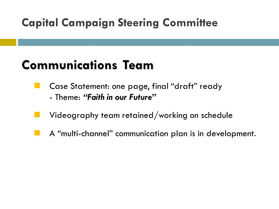 Communications Team Case Statement: one page, final draft ready - Theme: Faith in our Future Videography team retained/working on schedule A multi-channel communication plan is in development.