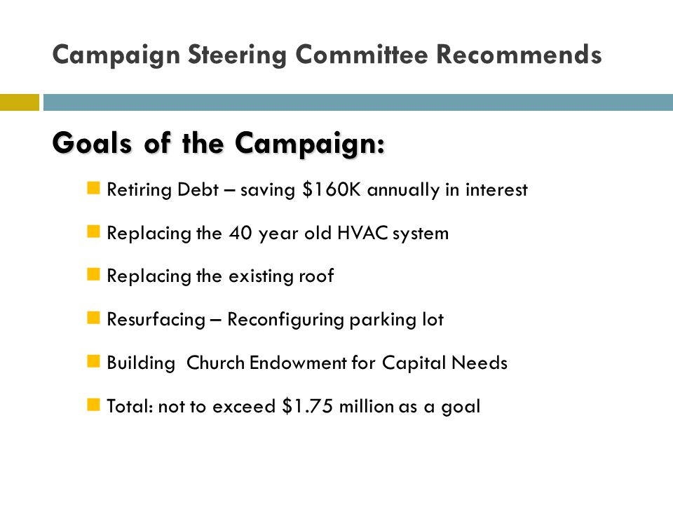 Campaign Steering Committee Recommends Goals of the Campaign: Retiring Debt – saving $160K annually in interest Replacing the 40 year old HVAC system