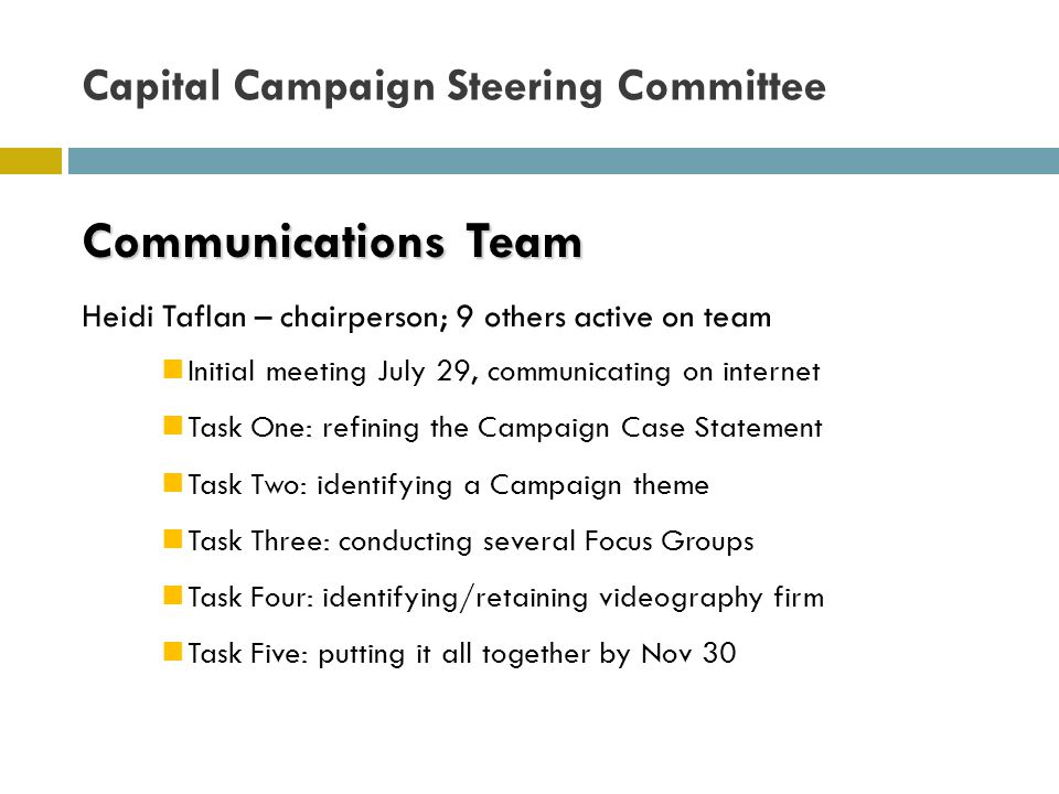 Communications Team Communications Team Heidi Taflan – chairperson; 9 others active on team Initial meeting July 29, communicating on internet Task One: refining the Campaign Case Statement Task Two: identifying a Campaign theme Task Three: conducting several Focus Groups Task Four: identifying/retaining videography firm Task Five: putting it all together by Nov 30 Capital Campaign Steering Committee
