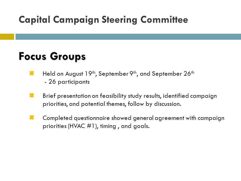 Focus Groups Held on August 19 th, September 9 th, and September 26 th - 26 participants Brief presentation on feasibility study results, identified campaign priorities, and potential themes, follow by discussion.