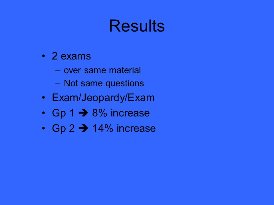Study 54 students 2 groups Randomly assigned IRB approved Exams pre- and post- review