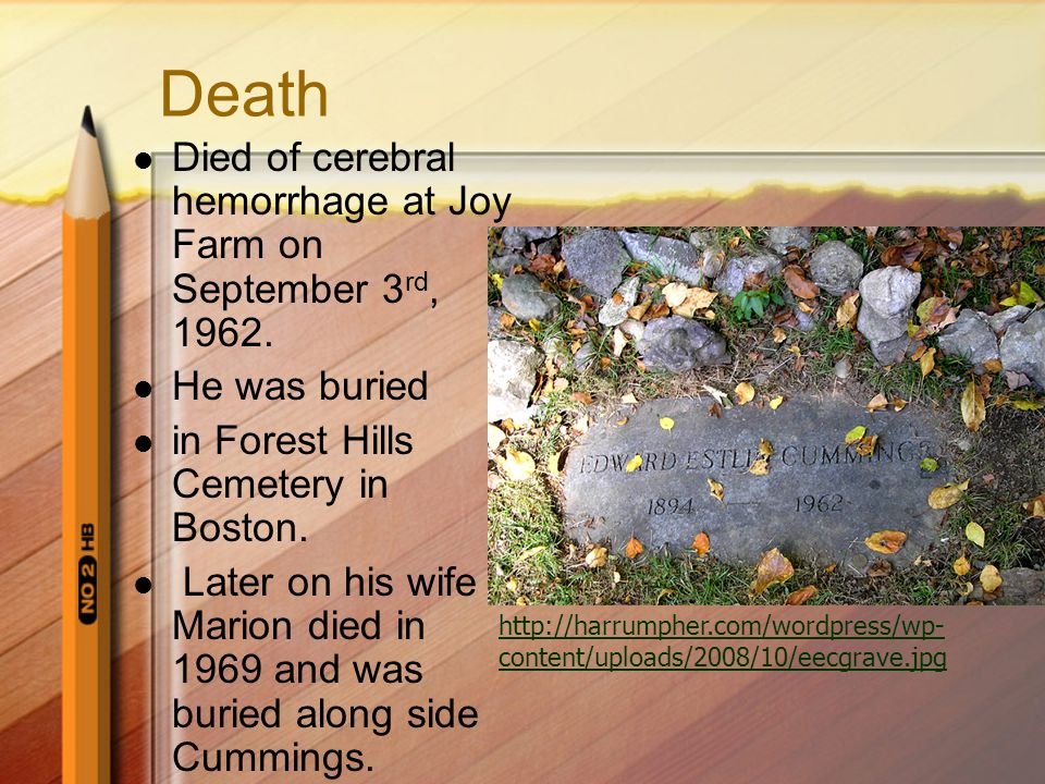 Death Died of cerebral hemorrhage at Joy Farm on September 3 rd, 1962.