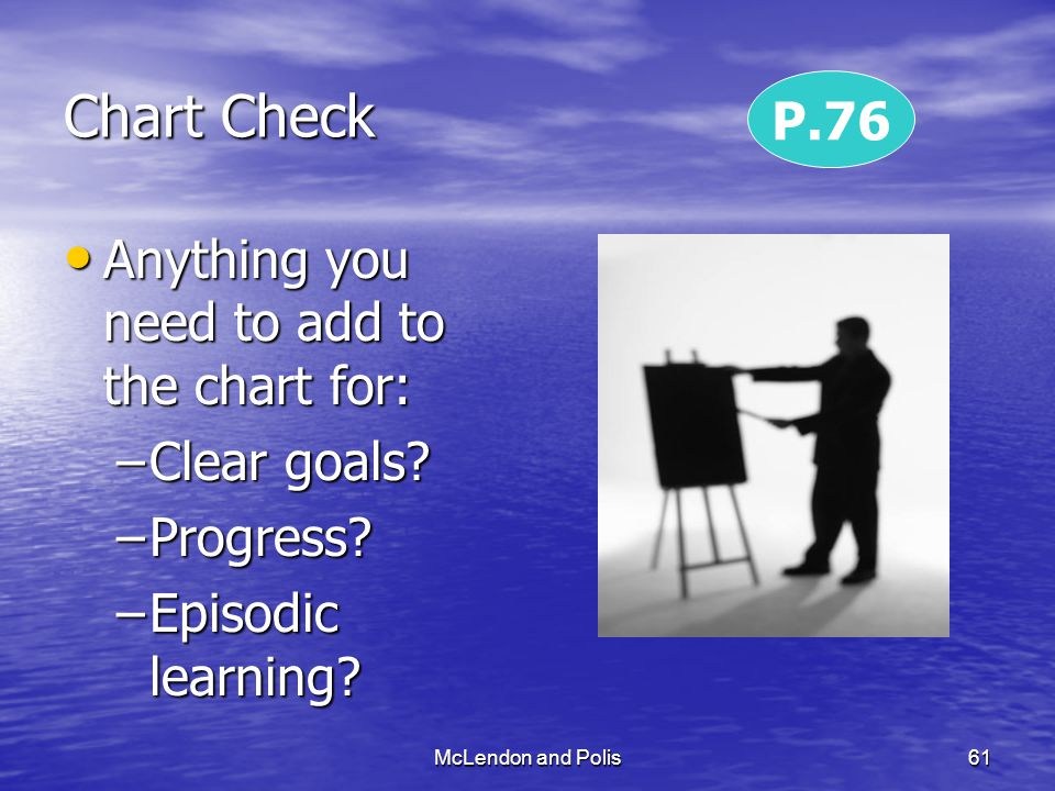 McLendon and Polis61 Chart Check Anything you need to add to the chart for: Anything you need to add to the chart for: –Clear goals.