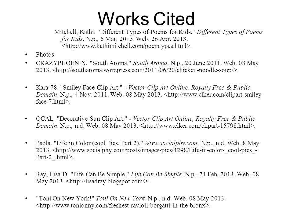 Works Cited Mitchell, Kathi.