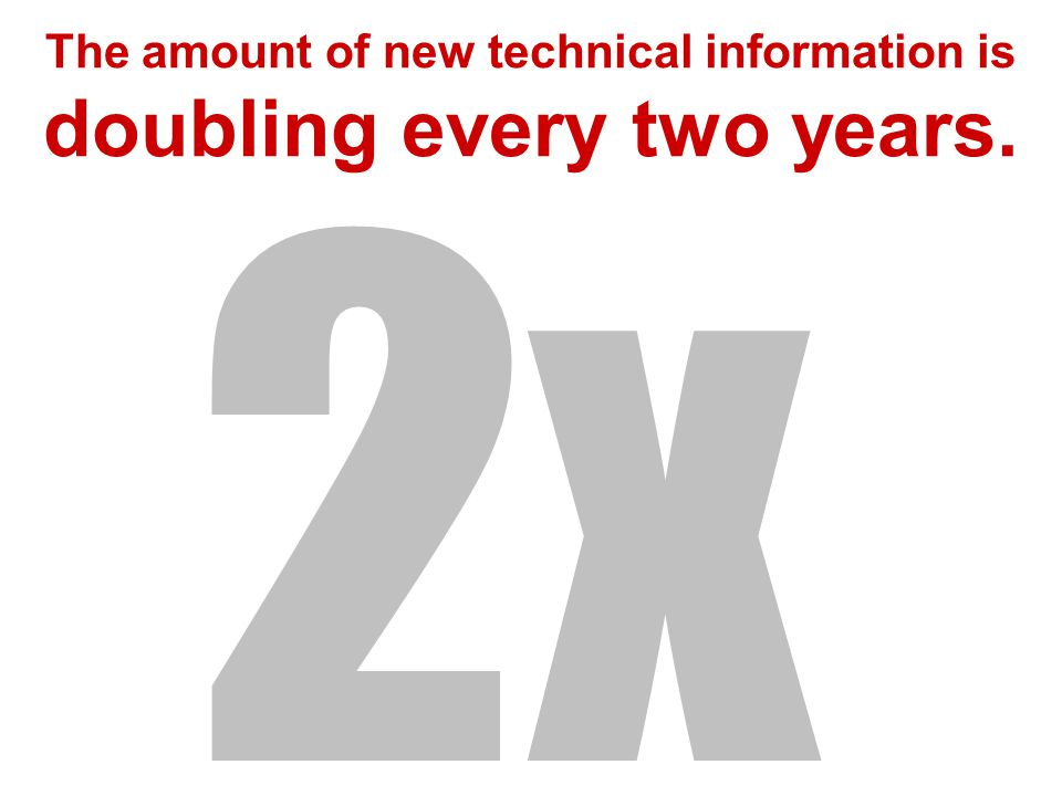 The amount of new technical information is doubling every two years. 2x