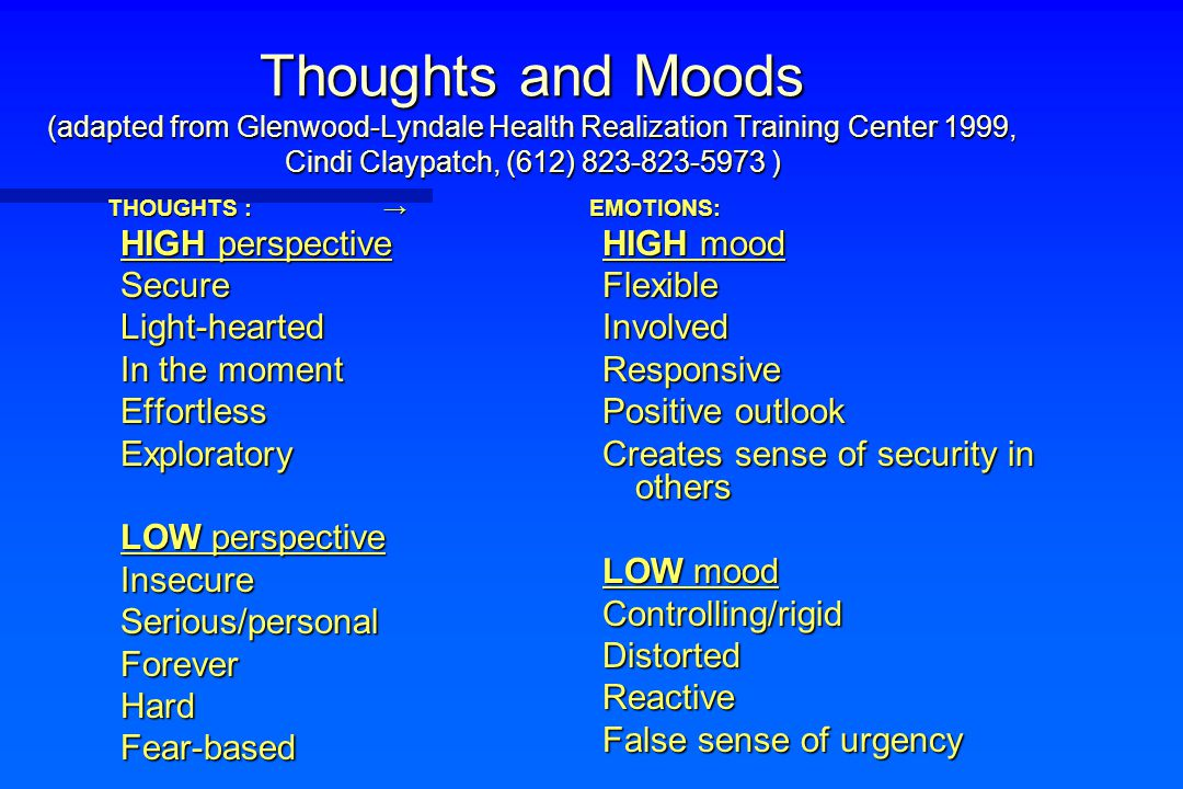 Thoughts and Moods (adapted from Glenwood-Lyndale Health Realization Training Center 1999, Cindi Claypatch, (612) 823-823-5973 ) THOUGHTS : → HIGH per