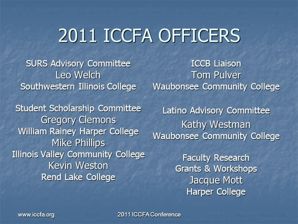 www.iccfa.org2011 ICCFA Conference 2011 ICCFA OFFICERS SURS Advisory Committee Leo Welch Southwestern Illinois College Student Scholarship Committee G
