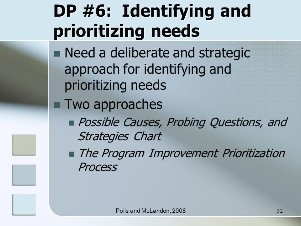 Polis and McLendon, 200832 DP #6: Identifying and prioritizing needs Need a deliberate and strategic approach for identifying and prioritizing needs Two approaches Possible Causes, Probing Questions, and Strategies Chart The Program Improvement Prioritization Process