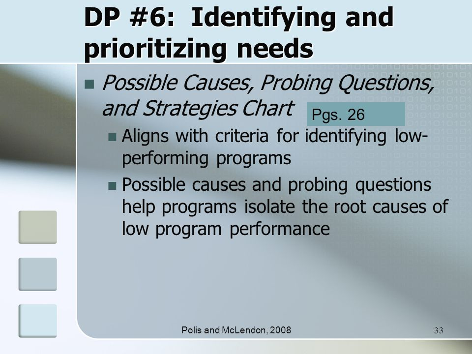 Polis and McLendon, 200833 DP #6: Identifying and prioritizing needs Possible Causes, Probing Questions, and Strategies Chart Aligns with criteria for identifying low- performing programs Possible causes and probing questions help programs isolate the root causes of low program performance Pgs.
