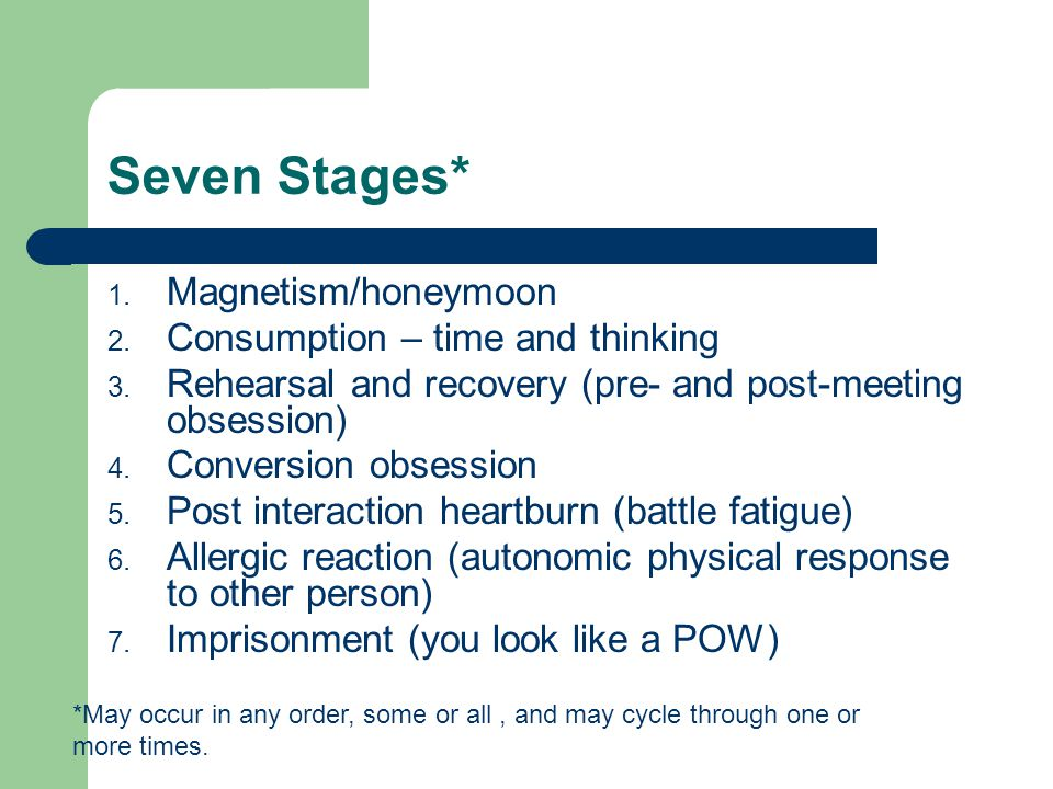 Seven Stages* 1. Magnetism/honeymoon 2. Consumption – time and thinking 3. Rehearsal and recovery (pre- and post-meeting obsession) 4. Conversion obse