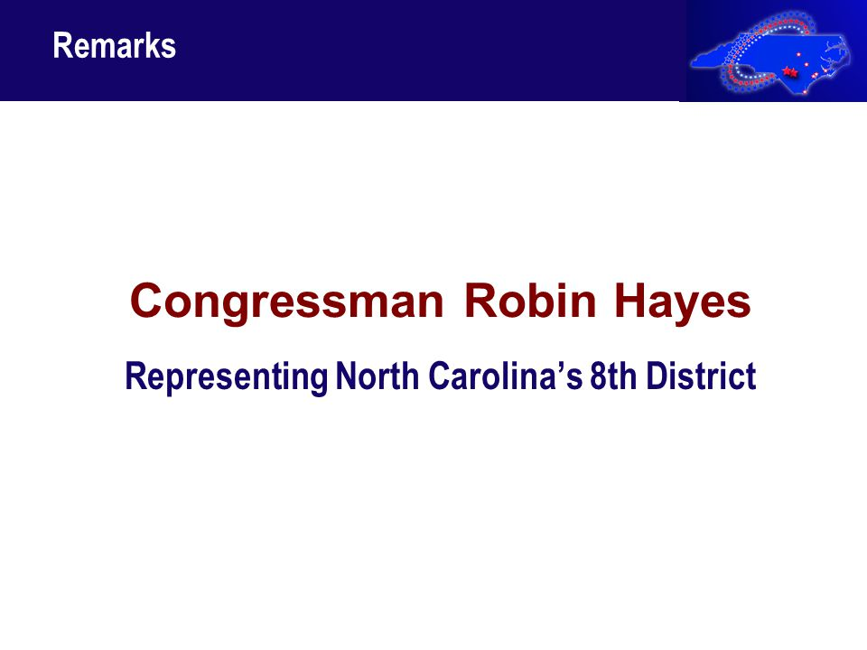 Congressman Robin Hayes Representing North Carolina's 8th District Remarks