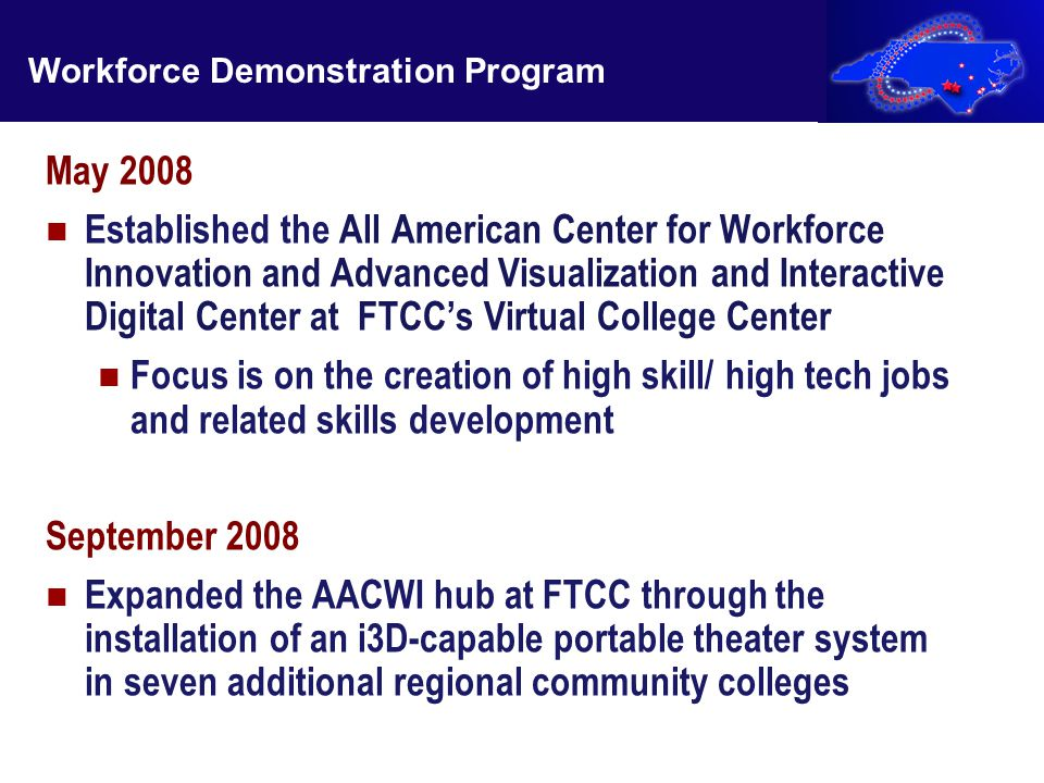 May 2008 Established the All American Center for Workforce Innovation and Advanced Visualization and Interactive Digital Center at FTCC's Virtual Coll