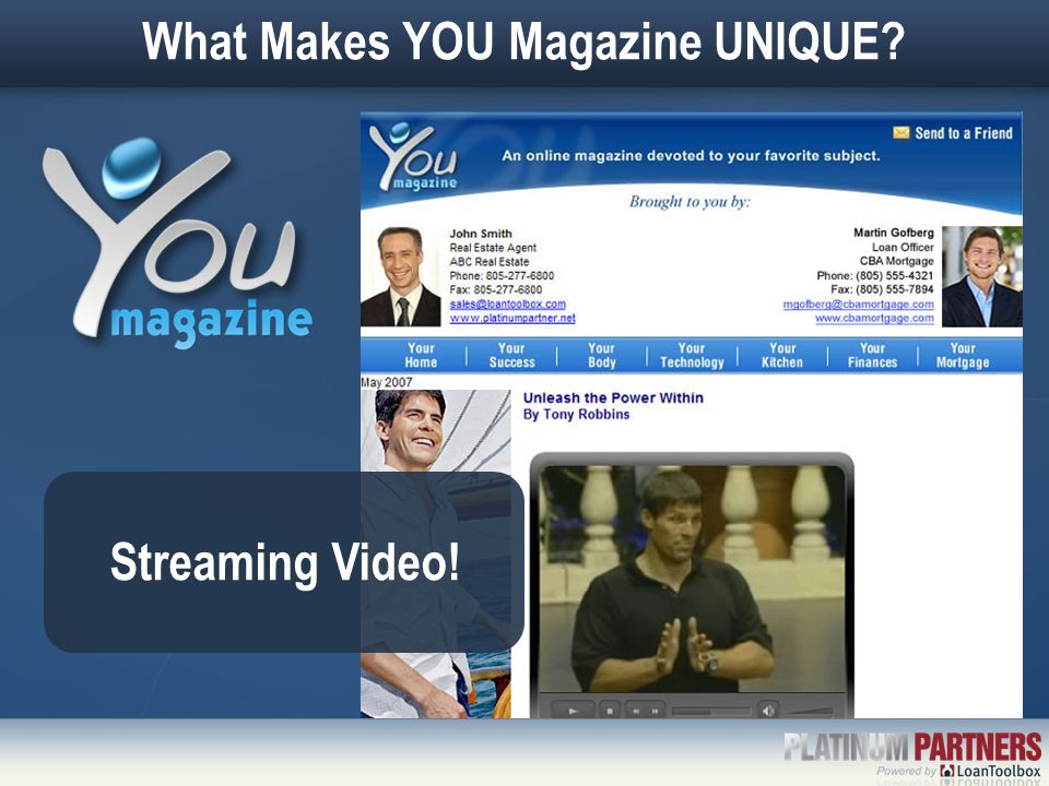 What Makes YOU Magazine UNIQUE Streaming Video!