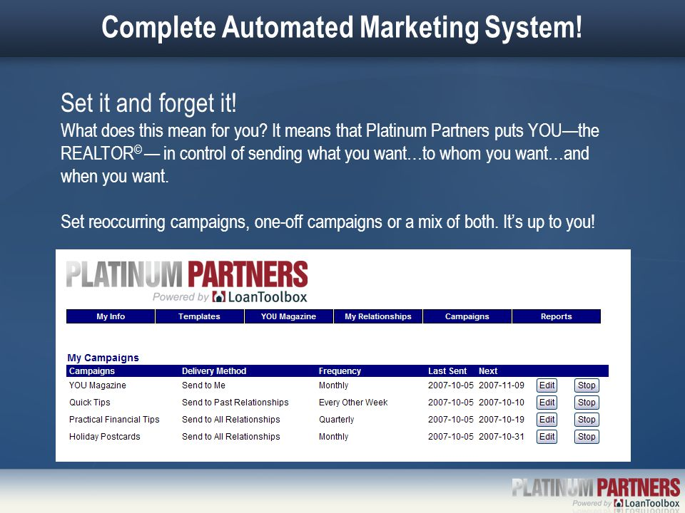 Complete Automated Marketing System! Set it and forget it! What does this mean for you? It means that Platinum Partners puts YOU—the REALTOR © — in co