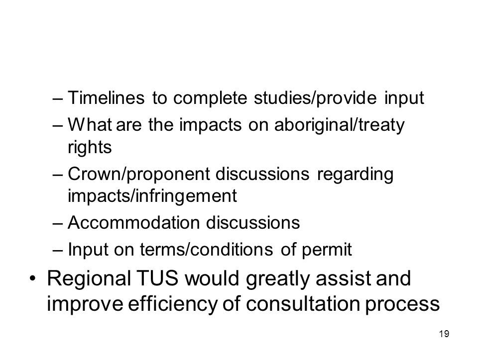 19 –Timelines to complete studies/provide input –What are the impacts on aboriginal/treaty rights –Crown/proponent discussions regarding impacts/infringement –Accommodation discussions –Input on terms/conditions of permit Regional TUS would greatly assist and improve efficiency of consultation process