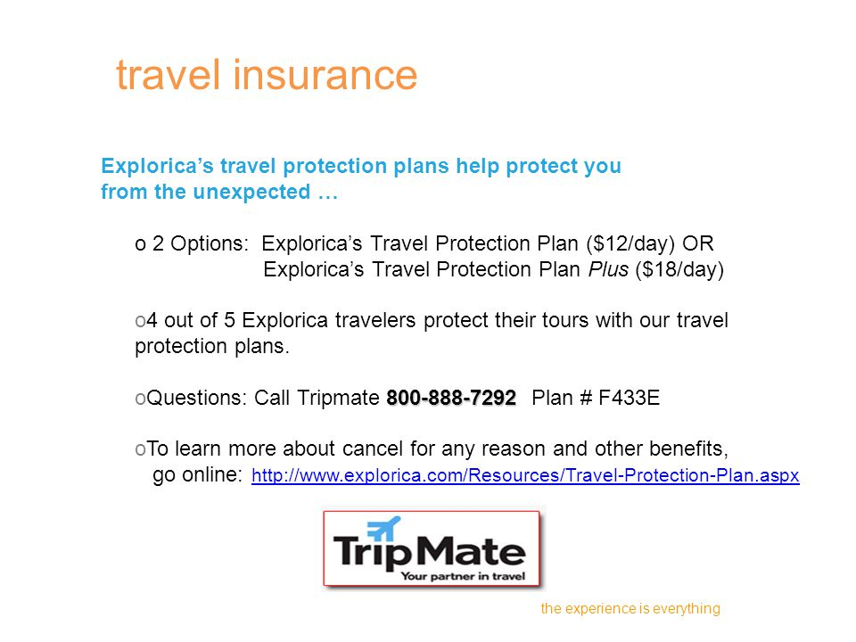 Explorica's travel protection plans help protect you from the unexpected … o 2 Options: Explorica's Travel Protection Plan ($12/day) OR Explorica's Travel Protection Plan Plus ($18/day) o4 out of 5 Explorica travelers protect their tours with our travel protection plans.