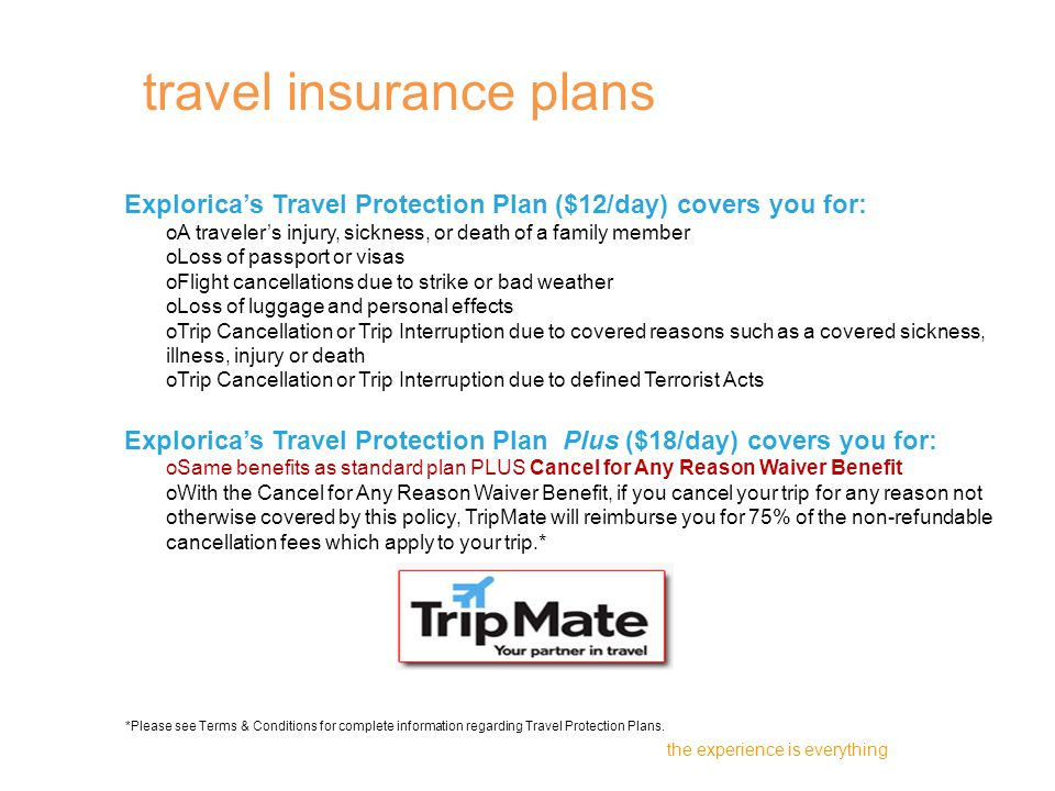 Explorica's Travel Protection Plan ($12/day) covers you for: oA traveler's injury, sickness, or death of a family member oLoss of passport or visas oFlight cancellations due to strike or bad weather oLoss of luggage and personal effects oTrip Cancellation or Trip Interruption due to covered reasons such as a covered sickness, illness, injury or death oTrip Cancellation or Trip Interruption due to defined Terrorist Acts Explorica's Travel Protection Plan Plus ($18/day) covers you for: oSame benefits as standard plan PLUS Cancel for Any Reason Waiver Benefit oWith the Cancel for Any Reason Waiver Benefit, if you cancel your trip for any reason not otherwise covered by this policy, TripMate will reimburse you for 75% of the non-refundable cancellation fees which apply to your trip.* the experience is everything travel insurance plans *Please see Terms & Conditions for complete information regarding Travel Protection Plans.