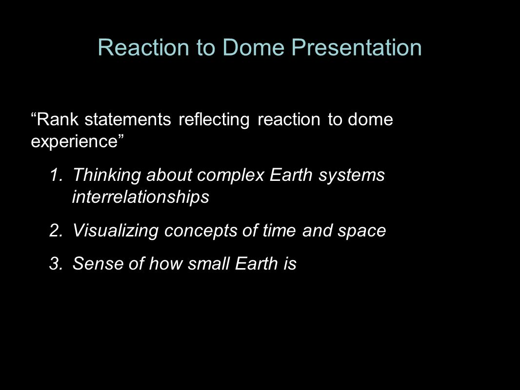 Reaction to Dome Presentation Rank statements reflecting reaction to dome experience 1.Thinking about complex Earth systems interrelationships 2.Visualizing concepts of time and space 3.Sense of how small Earth is