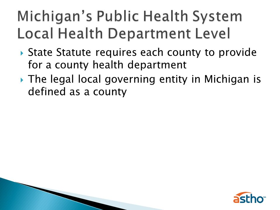  State Statute requires each county to provide for a county health department  The legal local governing entity in Michigan is defined as a county