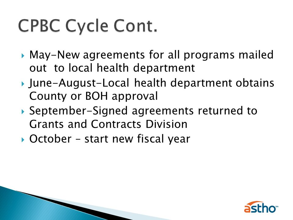  May-New agreements for all programs mailed out to local health department  June-August-Local health department obtains County or BOH approval  September-Signed agreements returned to Grants and Contracts Division  October – start new fiscal year