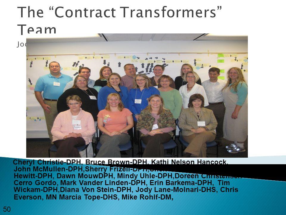 The Contract Transformers Team Jody 50 Cheryl Christie-DPH, Bruce Brown-DPH, Kathi Nelson Hancock, John McMullen-DPH,Sherry Frizell-DPH,Sheri Stursma-DPH,Stacey Hewitt-DPH, Dawn MouwDPH, Mindy Uhle-DPH,Doreen Christensen- Cerro Gordo, Mark Vander Linden-DPH, Erin Barkema-DPH, Tim Wickam-DPH,Diana Von Stein-DPH, Jody Lane-Molnari-DHS, Chris Everson, MN Marcia Tope-DHS, Mike Rohlf-DM, Insert team picture here