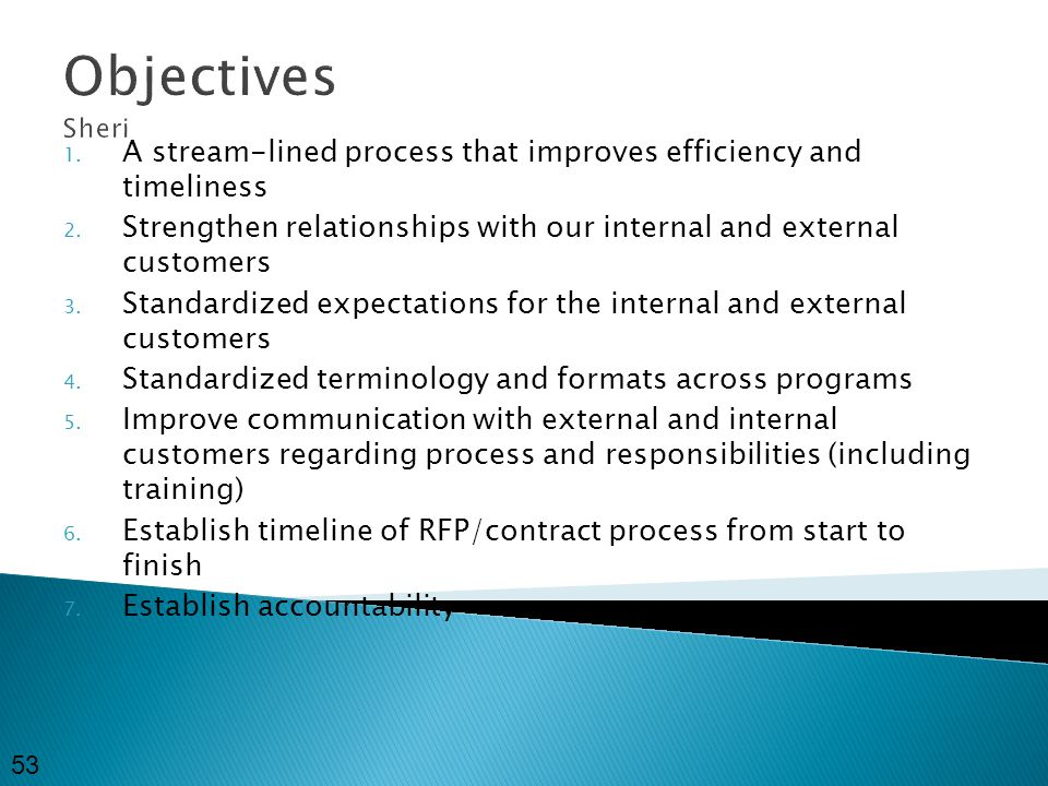 Objectives Sheri 1. A stream-lined process that improves efficiency and timeliness 2.