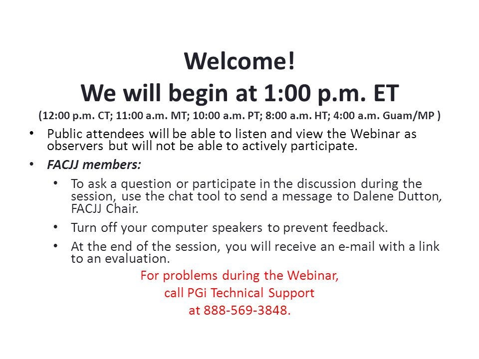 Federal Advisory Committee on Juvenile Justice (FACJJ) Webinar February 20, 2015