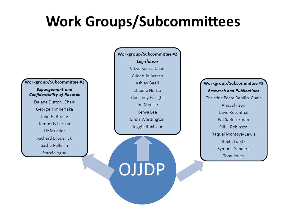 Work Groups/Subcommittees OJJDP Workgroup/Subcommittee #3 Research and Publications Christine Perra Rapillo, Chair Aris Johnson Dave Rosenthal Pat S.
