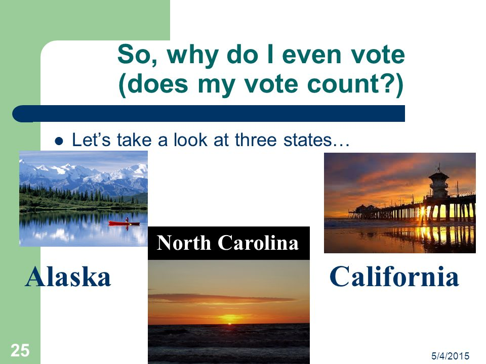 5/4/2015 Political Science Module Developed by PQE 24 The Real Election 3) In January, Congress convenes, opens the ballots received from each state,